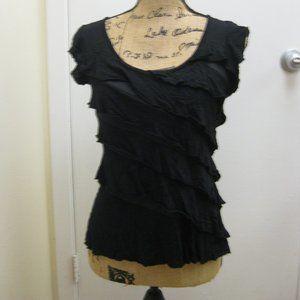 NWOT Iz Byer black ruffle top shirt XS extra small